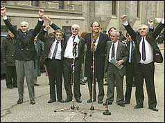 The Birmingham Six celebrate their release